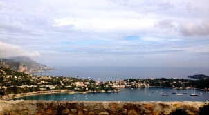 View of the harbour in Villefranche-sur-Mer and the riviera
