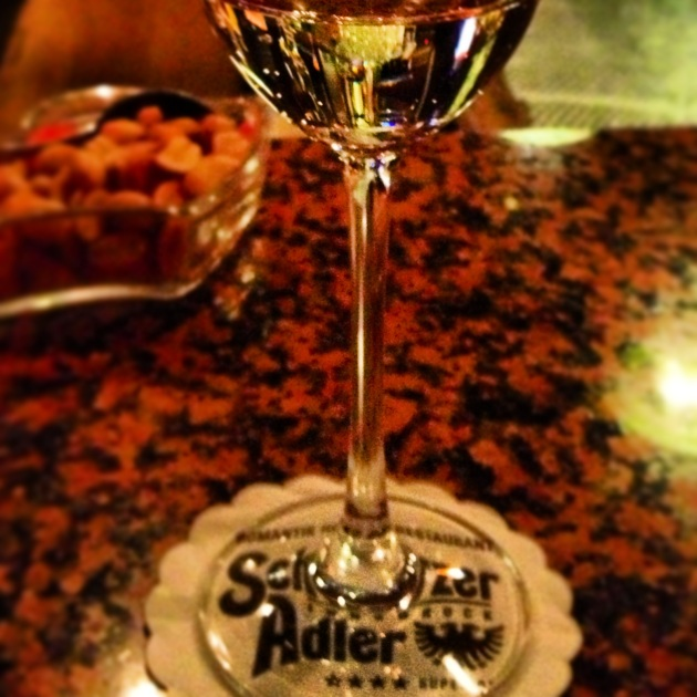 A flute of champagne at the Schwarzer Adler